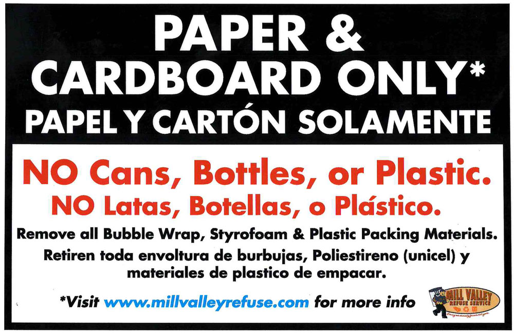 Mill Valley Refuse Apartment Paper Recycle Label