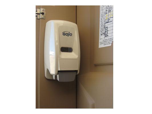 Hand Sanitizer in Porta Potty