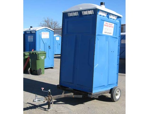Side View - Trailer Mount Portable Toilet Rental