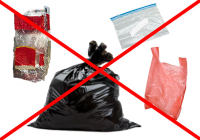 No plastic film in recycling